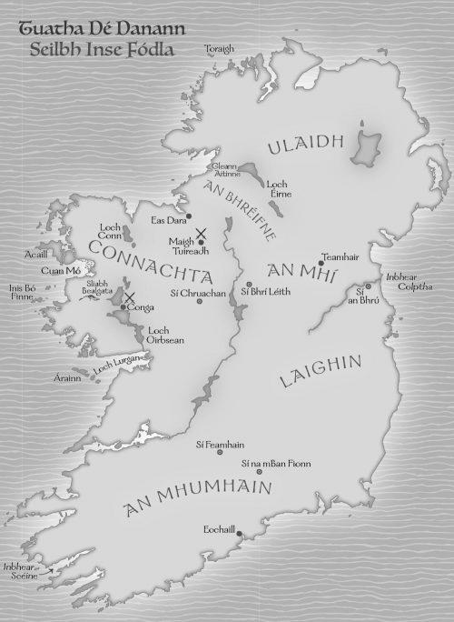Mapa na hÉireann le linn Thuatha Dé Danann